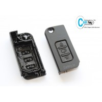 Carkey - Mahindra XUV 500 3 Button Black Flipkey Front Replacement Key Shell