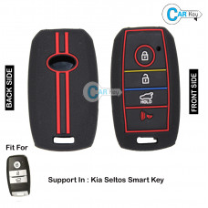 Carkey - Premium Silicone Key Cover for Kia Seltos Smart Key (Black)