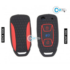 Carkey - Premium Silicone Key Cover for Tata Zest/Bolt/Nexon/Hexa(Flip Key) (Black)